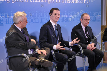President of Aspen Insitute Italy Giulio Tremonti, British Chancellor of the Exchequer George Osborne, Italian Minister of Economy and Finance Pier Carlo Padoan
