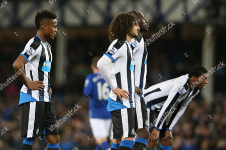 Rolando Aarons, Fabricio Coloccini, Moussa Sissoko and  Georginio Wijnaldum look dejected as they wait for Ross Barkley  to take the first penalty during the Barclays Premier League match between Everton and Newcastle United played at Goodison Park on February 3rd 2016