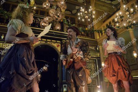 Stock Photo of Jessica Baglow (Mopsa), James Garnon (Autolycus), Kirsty Woodward (Dorcas)