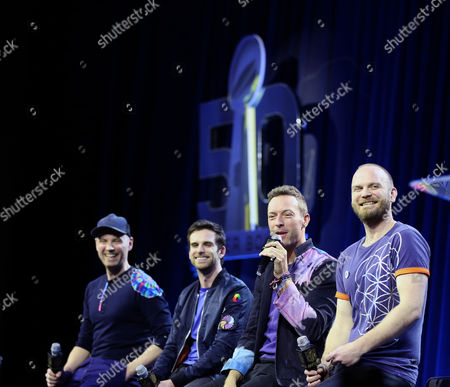 Musicians Jonny Buckland, Guy Berryman, Chris Martin and Will Champion of Coldplay speak onstage at the Helen DeMacque Super Bowl Halftime Press Conference on February San Francisco, California.