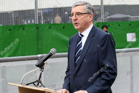 Jim Fitzpatrick British MP speaking in the demonstration against presence of Mohammad Javad Zarif in front of Queen Elizabeth II Elizabeth II Conference Centre, in the City of Westminster, Broad Sanctuary