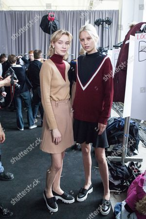 Stock Photo of Brianna Mellon with model backstage