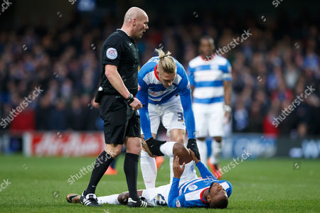 David Hoilett of QPR looks injured during the SkyBet Championship match between QPR and Ipswich Town played at Loftus Road Stadium, London on February 6th 2016