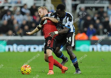 Cheik Tiote of Newcastle United  and Alex Pritchard of West Bromwich Albion during the Barclays Premier League match between Newcastle United and West Bromwich Albion at St James Park on the 6th of February 2016
