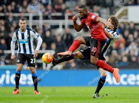Victor Anichebe of West Bromwich Albion and Fabricio Coloccini of Newcastle United during the Barclays Premier League match between Newcastle United and West Bromwich Albion at St James Park on the 6th of February 2016
