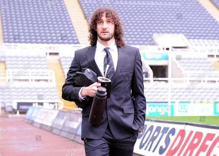 Fabricio Coloccini of Newcastle United arrives with his tea flask for the Barclays Premier League match between Newcastle United and West Bromwich Albion at St James Park on the 6th of February 2016