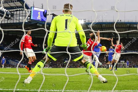 Daley Blind of Manchester United blocks a shot on goal from John Terry of Chelsea - Chelsea v Manchester United, Barclays Premier League, Stamford Bridge, London. 7 Feb 2016 Picture by Richard Calver