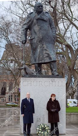 Randolph Churchill (left) And Celia Sandys Lay A Wreath At The Churchill Statue In Parliament Square.