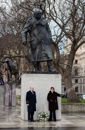Stock Picture of Randolph Churchill (left) And Celia Sandys Lay A Wreath At The Churchill Statue In Parliament Square.