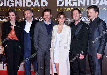 Stock Image of Vicky Krieps, Michael Nyqvist, Daniel Bruhl, Emma Watson, Florian Gallenberger and Benjamin Herrmann