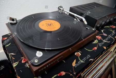 A mock-up of Jimi Hendrix's B&O record player, with 'John Wesley Harding' by Bob Dylan on the turntable