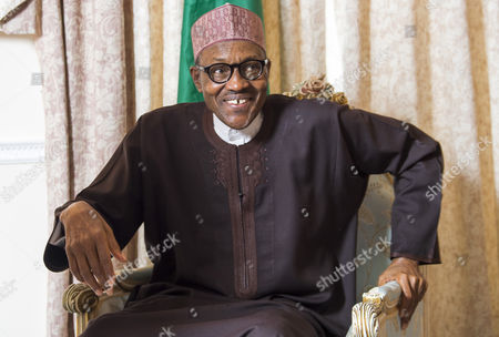 Stock Image of Nigerian President Muhammadu Buhari during interview with Colin Freeman