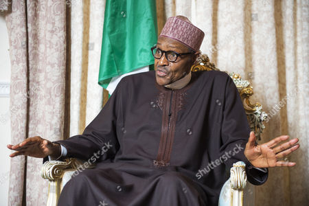 Stock Photo of Nigerian President Muhammadu Buhari during interview with Colin Freeman