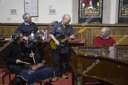 Stock Photo of (L-R) Alex Smith 65 (Drums), Dave McRoberts 62 (Bass), David Murdoch 65 (Piano), Doug McRoberts 66 (Guitar)