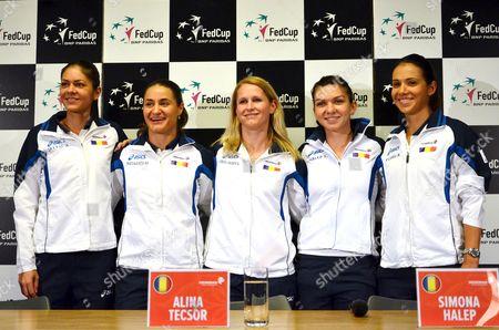 Andreea Mitu #96 WTA, Monica Niculescu #40 WTA, Alina Cercel-Tecsor, Simona Halep #3 WTA, Raluca Olaru #49 WTA doubles during the Woman FED Cup 2016