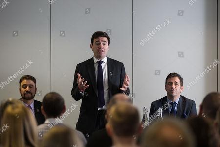 Afzal Khan MEP, Andy Burnham MP and Juergen Maier CEO of Siemens