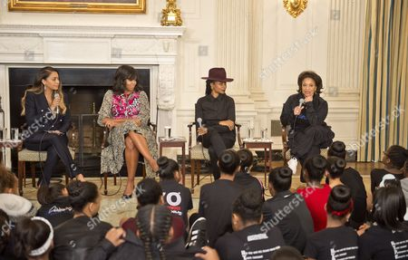 First Lady Michelle Obama in the State Dining Room joins Judith Jamison, Debbie Allen, Virginia Johnson, and Fatima Robinson for a panel discussion. The panelists will take questions from the students in the audience on a variety of topics including self-confidence, health, hard work, and overcoming adversity as part of Black HIstory Month. Debbie Allen is on the far right speaking