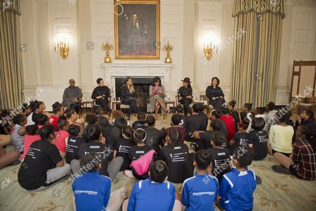 First Lady Michelle Obama in the State Dining Room joins Judith Jamison, Debbie Allen, Virginia Johnson, and Fatima Robinson for a panel discussion. The panelists will take questions from the students in the audience on a variety of topics including self-confidence, health, hard work, and overcoming adversity as part of Black HIstory Month.