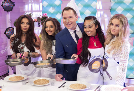 Little Mix - Jesy Nelson, Jade Thirlwall, Leigh-Anne Pinnock and Perrie Edwards make pancakes along with Richard Arnold