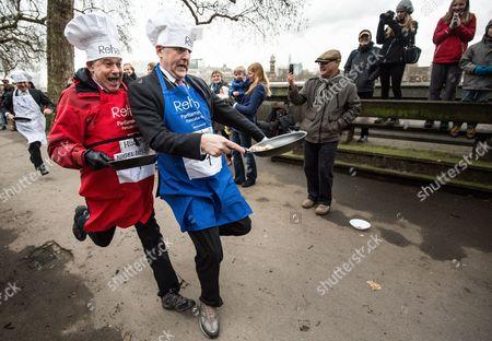 Editorial image of Rehab Parliamentary Pancake Race at Victoria Tower Gardens, London, Britain - 09 Feb 2016