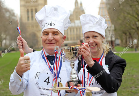 Editorial image of Rehab Parliamentary Pancake Race at Victoria Tower Gardens, London, Britain - 09 Feb 2016