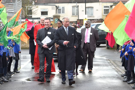 Prince Charles with associate vicar, the Revd Mark Poulson, and the Bishop of London, the Rt Revd Right Reverend Richard Chartres