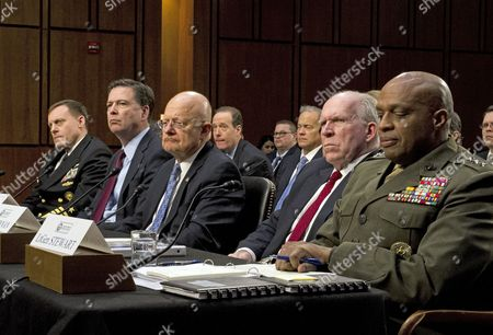Stock Photo of From left to right: Director Admiral Michael Rogers, Director of the National Security Agency (NSA); Director James Comey, Director of the Federal Bureau of Investigation (FBI); Director James Clapper, Director of National Intelligence (DNI); Director John O. Brennan, Director of the Central Intelligence Agency (CIA); and Director Lieutenant General Vincent Stewart, Director of the Defense Intelligence Agency (DIA) testify
