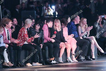 Beck, Justin Bieber, Joan Jett, Mark Ronson, Krist Novoselic and Courtney Love attend the 2016 Saint Laurent show