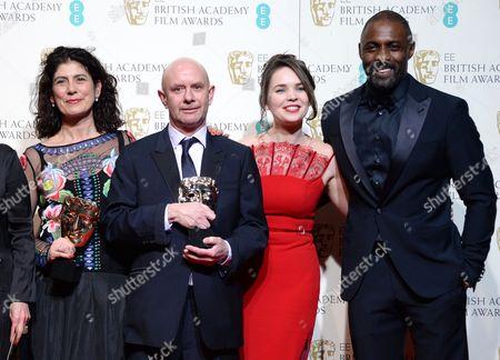 Amanda Posey, Nick Hornby, guest and Idris Elba