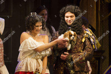 Stock Photo of Gemma Arterton (Nell Gwynn) and David Sturzaker (Charles II), with Milly, during the curtain call