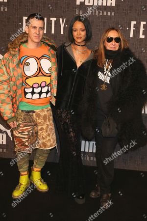 Stock Image of Jeremy Scott, Rihanna, and stylist Carlyne Cerf De Dudzeele