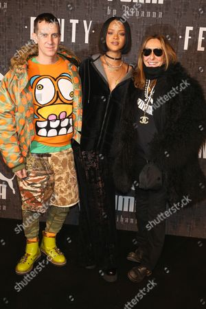 Jeremy Scott, Rihanna, and stylist Carlyne Cerf De Dudzeele
