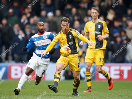 Scott Parker of Fulham and David Hoilett of QPR during the SkyBet Championship match between QPR and Fulham played at Loftus Road Stadium, London on January 13th February 2016