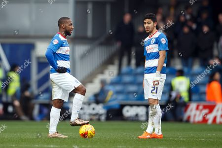 David Hoilett and Massimo Luongo of QPR look dejected during the SkyBet Championship match between QPR and Fulham played at Loftus Road Stadium, London on January 13th February 2016