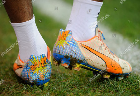 The Puma boots of Alex Song of West Ham United with 'Bam!' on them during the Barclays Premier League match between Norwich City and West Ham United played at Carrow Road, Norwich on February 13th, 2016