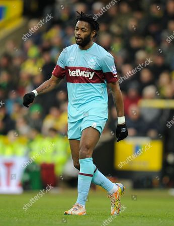 Stock Image of Alex Song of West Ham United during the Barclays Premier League match between Norwich City and West Ham United played at Carrow Road, Norwich on February 13th, 2016