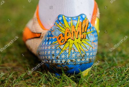 Stock Photo of The Puma football boots worn by Alex Song of West Ham United and featuring 'Bam!!' on them during the Barclays Premier League match between Norwich City and West Ham United played at Carrow Road, Norwich on February 13th, 2016