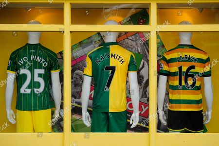 The Norwich City club shop featuring new signings, Ivo Pinto, Steven Naismith, and Matt Jarvis of Norwich City during the Barclays Premier League match between Norwich City and West Ham United played at Carrow Road, Norwich on February 13th, 2016