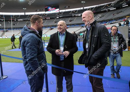 Ireland legends Tommy Bowe, Keith Wood and Paul O'Connell who are working for media before the match
