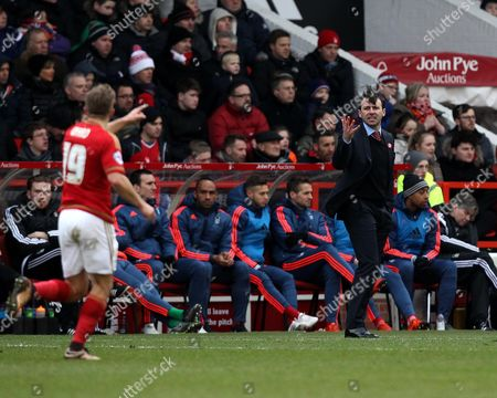 Nottingham Forest Manager Dougie Freedman issues instructions to Jamie Ward of Nottingham Forest