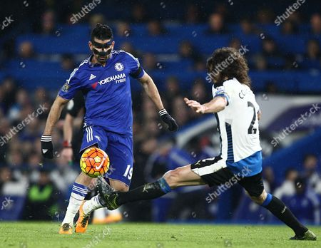 Fabricio Coloccini of Newcastle United and Diego Costa of Chelsea   during the Barclays Premier League match between Chelsea and Newcastle   played at Stamford Bridge  , 13th February 2016 in London