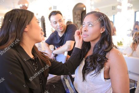 Florido Basallo and Nichelle Hines attend Nine Zero One and T3 host a day of beauty with Florido Basallo for the 2016 Grammy's