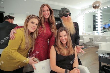 Jenna Barnes, AJ Celi, Gilligan Gibbons and Billy Gibbons attend Nine Zero One and T3 host a day of beauty with Florido Basallo for the 2016 Grammy's