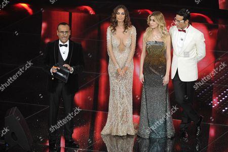 Carlo Conti, Madalina Diana Ghenea, Virginia Raffaele and Gabriel Garko