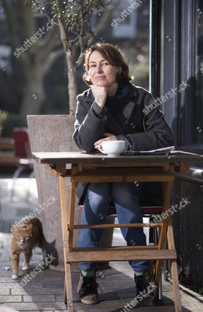 Stock Picture of Helen Baxendale outside the Italo cafe