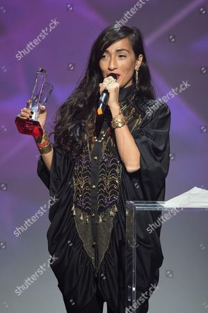 Hindi Zahra receives the award for the best world music album.
