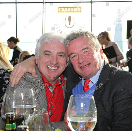 Owner John Neild (Splash of Ginge) with trainer Nigel Twiston Davies at the Crabbie's Grand Natonal Weights Lunch- Sky Garden , London Photograph for Aintree Racecourse by Grossick Racing