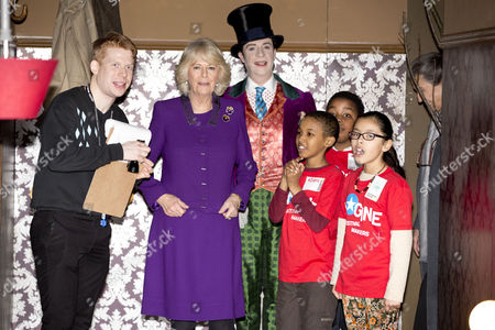 Camilla Duchess of Cornwall attending a preview of the new Wondercrump World of Roald Dahl Exhibition at the Southbank Centre which celebrates the authors Centenary. Jonathan Slinger as Willy Wonka