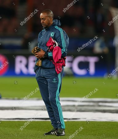 Chelsea coach Eddie Newton during the UEFA Champions League Round of 16 First Leg match between Paris Saint-Germain and Chelsea played at Parc des Princes, Paris on February 16th 2016