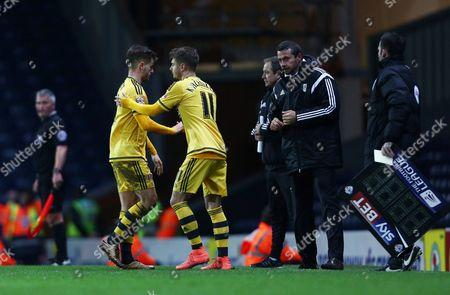 Luke Garbutt of Fulham is replaced by Alex Kacaniklic during the Sky Bet Championship match between Blackburn Rovers and Fulham played at Ewood Park, Blackburn on February 16th 2016